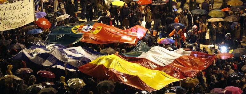 Manifestacion en Atenas. Pueblos del Sur de Europa unidos