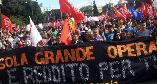 Manifestación en Roma contra la austeridad