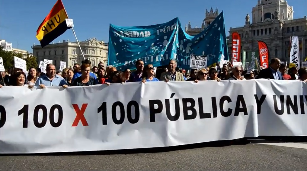 Miles de personas toman Madrid por una sanidad pública