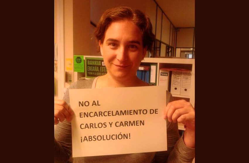 """Fotos solidarias contra la """"condena política"""" de los miembros del 15M Carlos y Carmen"""
