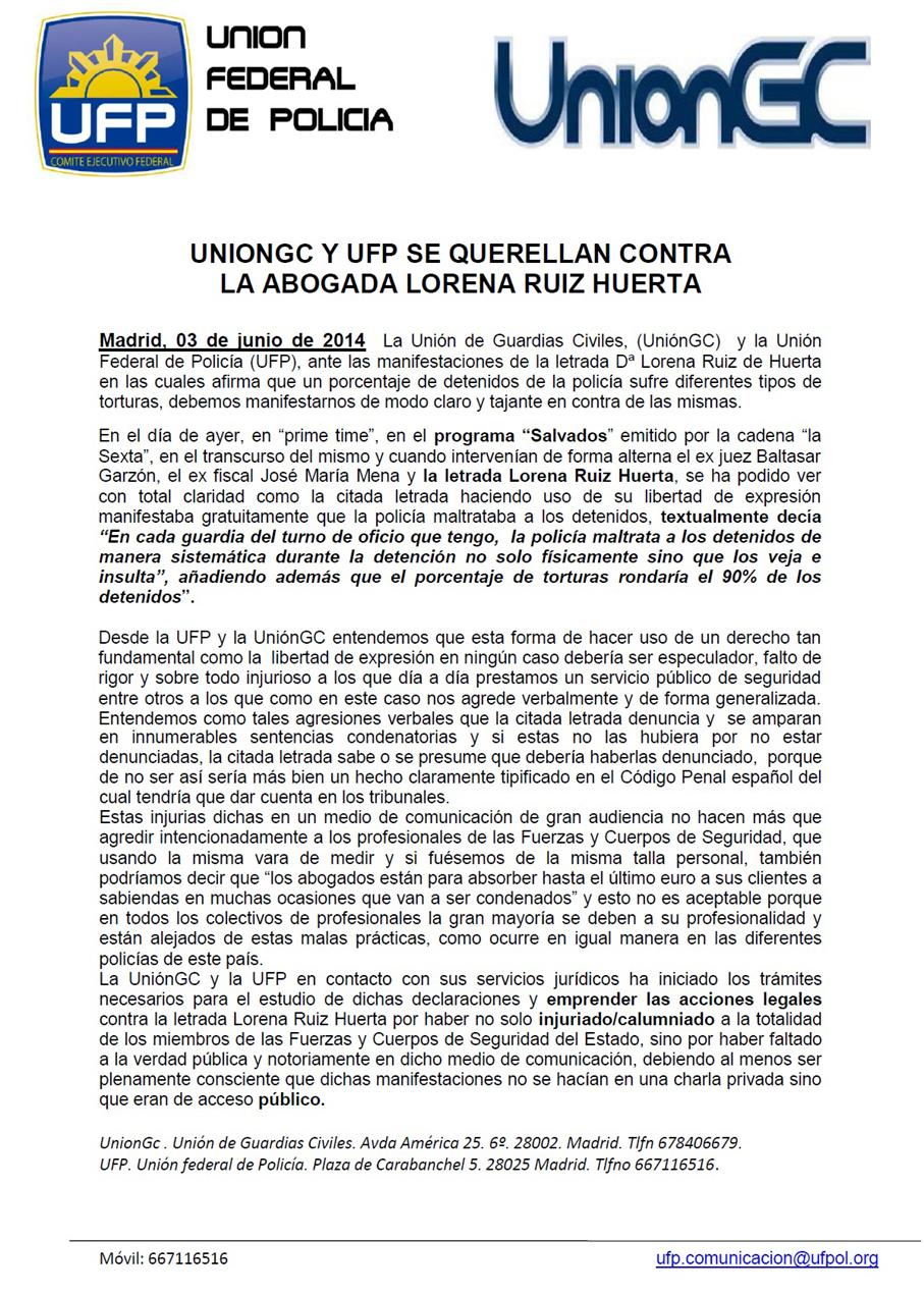Comunicado de los sindicatos policiales: UNIONGC Y UFP SE QUERELLAN CONTRA LA ABOGADA LORENA RUIZ HUERTA