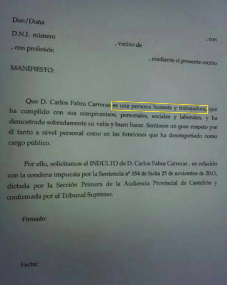 """El PP de Castellón pide el indulto para Carlos Fabra """"por ser una persona honesta"""""""