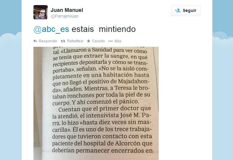 """""""Estáis mintiendo"""", el médico que atendió a la enferma de ébola acusa al ABC"""