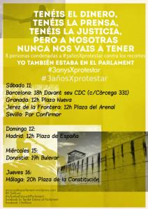 Una cadena humana rodeará el Parlament para exigir la libertad de los condenados del 15M catalán