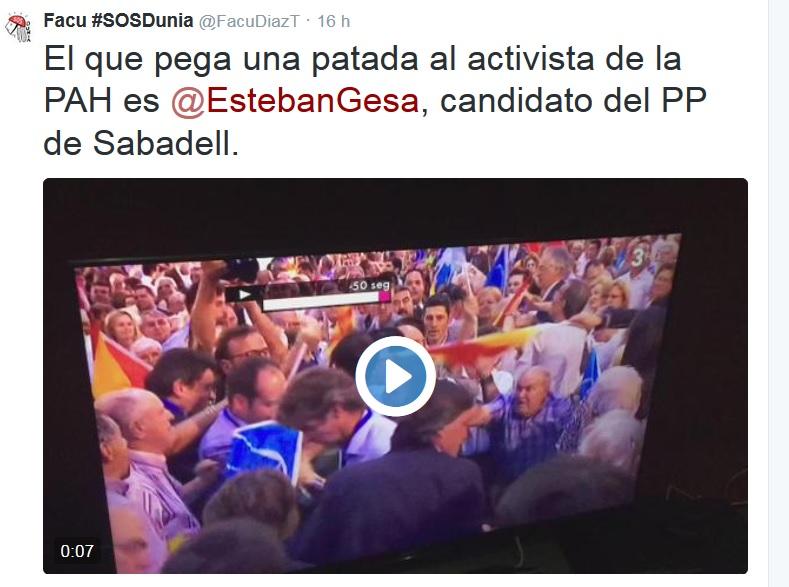 Militantes del PP agreden a miembros de la PAH en un mitin de Rajoy en Sabadell