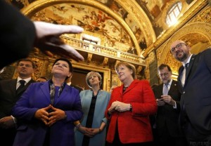 Leaders visit Saint John's Co-Cathedral during a break in the European Union leaders summit in Malta