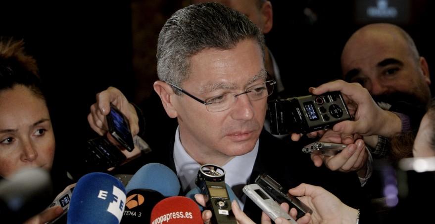 El ministro Gallardón durante una comparecencia en los medios