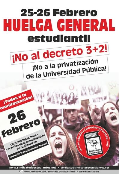 """Huelga general de estudiantes contra el 'decreto 3+2' de un """"enloquecido"""" Wert"""