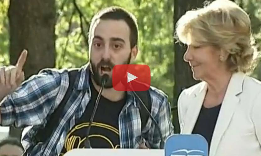(Vídeo) Stop Desahucios toma el mitin de Aguirre y hace un escrache a Cifuentes