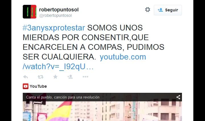 Protestas contra la inminente entrada en prisión de los 8 condenados del 15M catalán